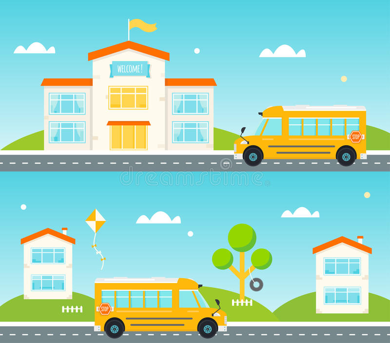 Road to and from school. School bus, school building, houses along the street royalty free illustration