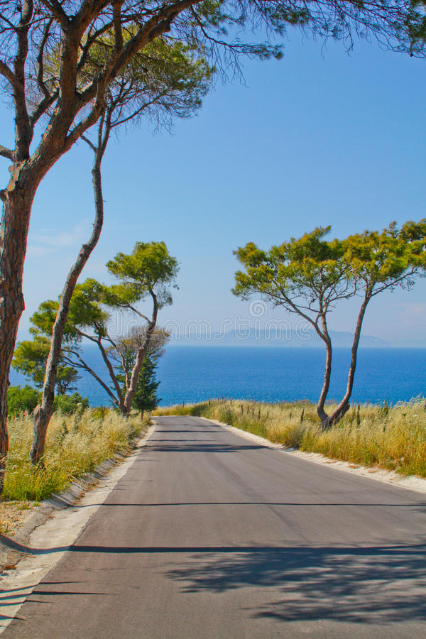 Road to the sea. Island view. Traveling roads of Europe. Rodos. Greece stock photo