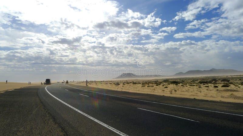 Road to sky in Fuerteventura stock images