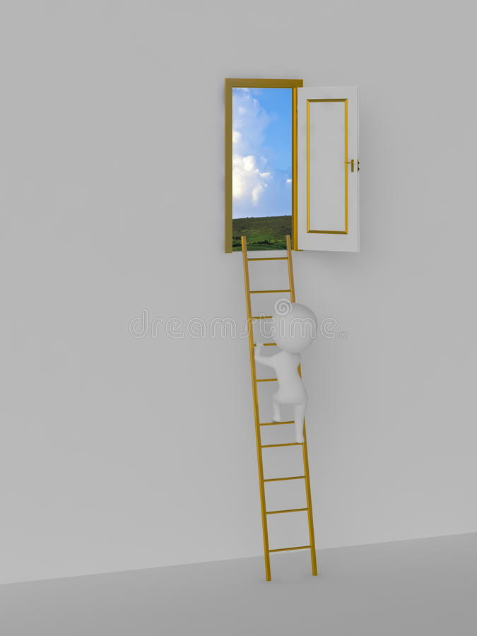 Road to solution. Door to the sky. royalty free illustration