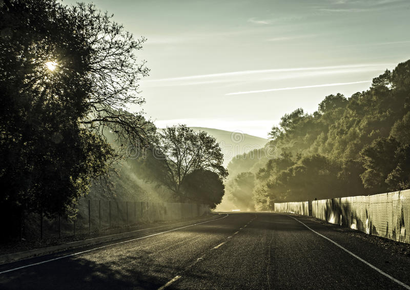 Road to somewhere. Lanscape road in sunrise in california USA royalty free stock photo