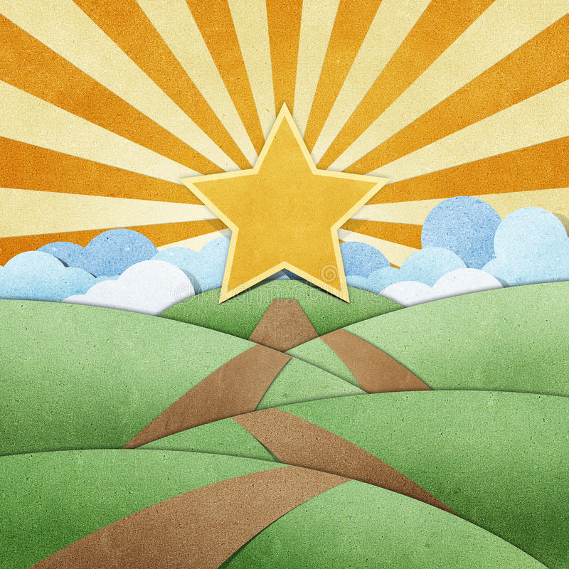 Download Road To Star Recycled Paper Craft And Rainbow Royalty Free Stock Photo - Image: 20724935