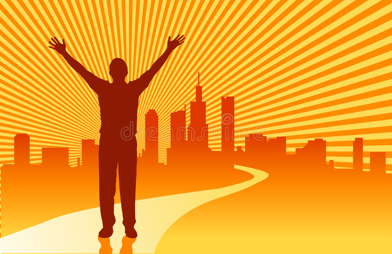 Road to Success. The road to success over a sunburst and city skyline stock illustration