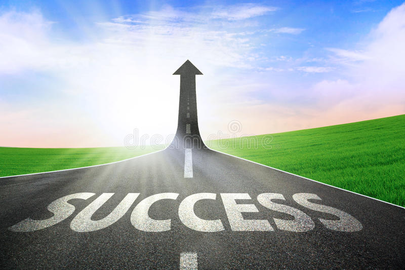 The road to success. A road turning into an arrow rising upward symbolizing the improvement of success royalty free stock images