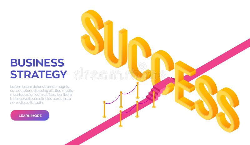 Road to success. Business Strategy Concept. Red carpet to the success. Strategy and solutions for business leadership. Creative vector illustration