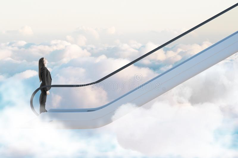 Road to success concept with businesswoman going up by escalator among clouds. Road to success concept with businesswoman going up by escalator among white royalty free stock photos