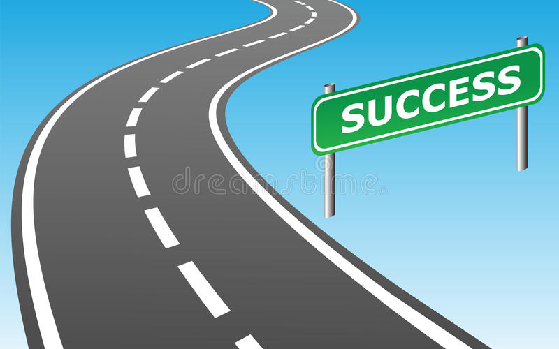 Road to success. Road and road sign SUCCESS as contemporary business concept. Vector Illustration vector illustration