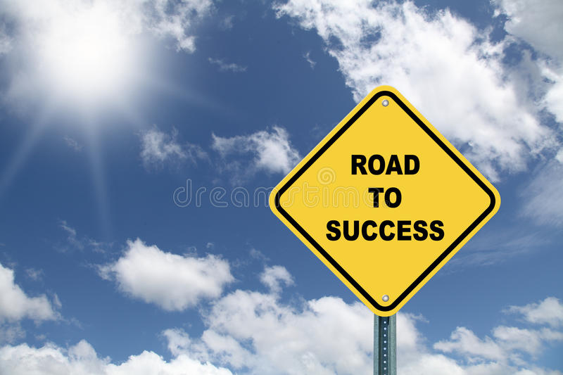 Road to success sign. Yellow road to success sign against a beautiful blue sky royalty free illustration