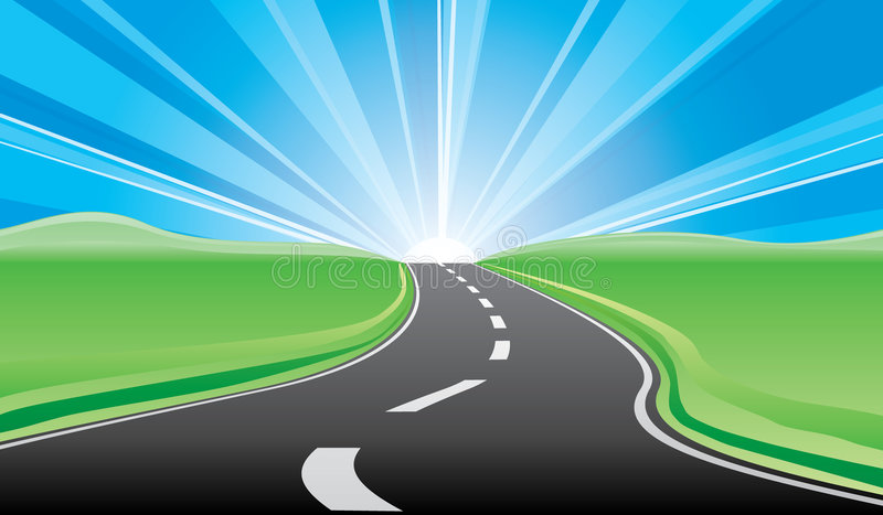 Road to the sunrise vector illustration
