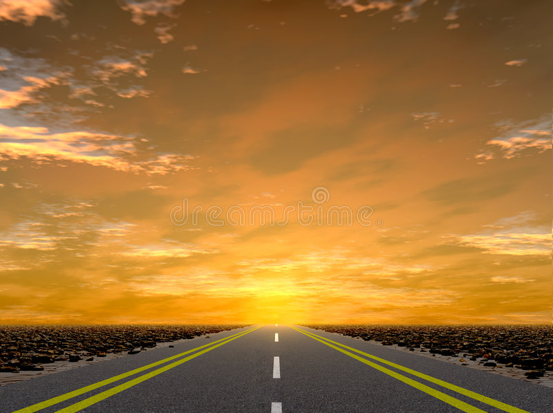 Road to a sunset stock images