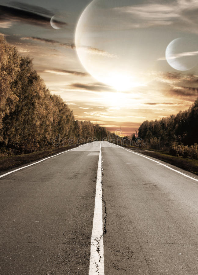 Road to surreal sunset royalty free stock photos