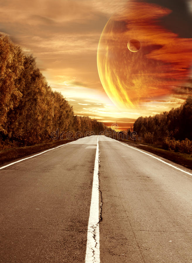 Road to surreal sunset stock illustration