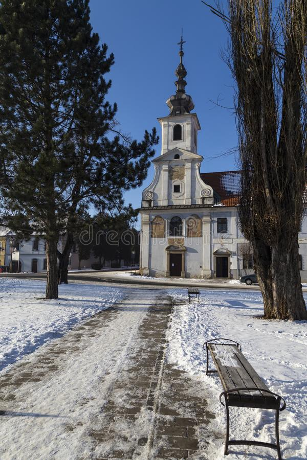 Road to the temple, town Spisske Podhradie, Slovakia. Ancient city center of town Spisske Podhradie, Slovakia near with Spis castle , Europe at sunny winter day royalty free stock image
