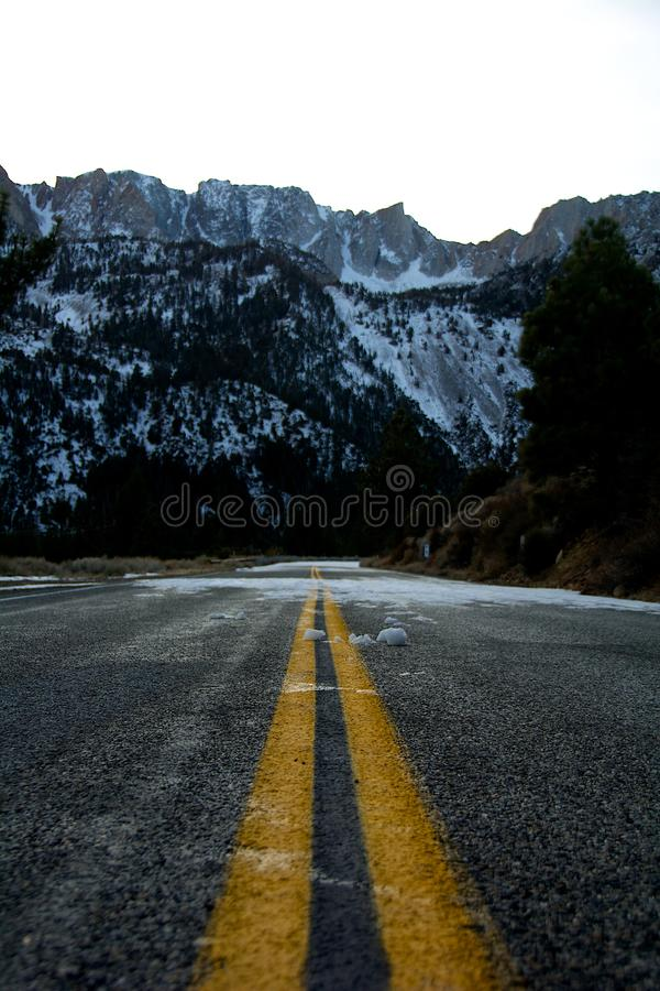 Road to Tioga Pass and Snow stock image