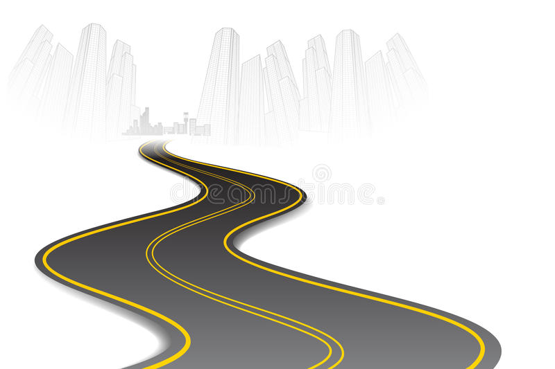 Road to Town vector illustration