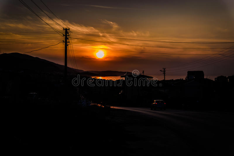 Road To Town. Main road that reaches to the small summer town named Cinarcik located in Marmara region of the country Turkey. A relatively popular and cheap royalty free stock images
