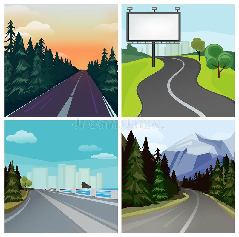 Road to town. Outside highway street scenic different types of city road vector landscape. Road travel, tree and hill, highway and skyline illustration vector illustration