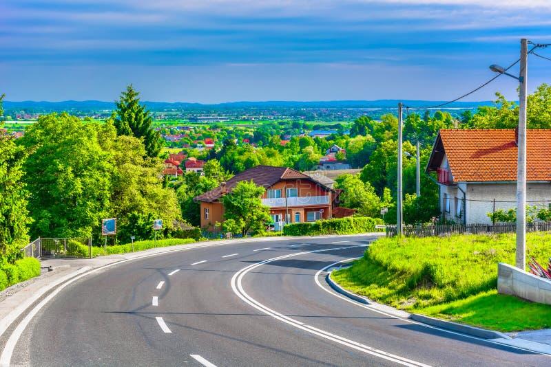 Road to Varazdin, Croatia. Scenic view at picturesque scenery in suburb of Varazdin town, Croatia Europe royalty free stock photos