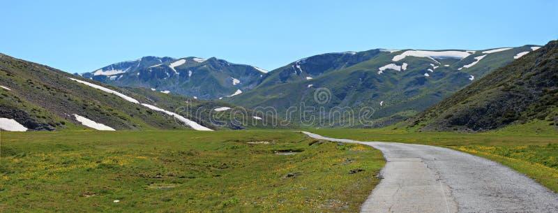 A road to village Galichnik stock image