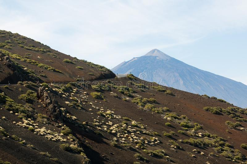 Road to volcano El Teide in Teide National Park royalty free stock photography
