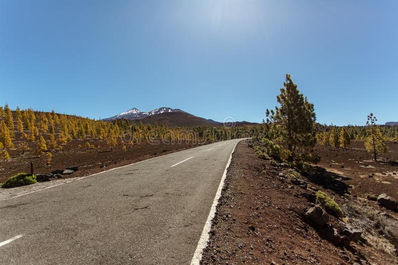 Road to volcano El Teide in Teide National Park royalty free stock photo