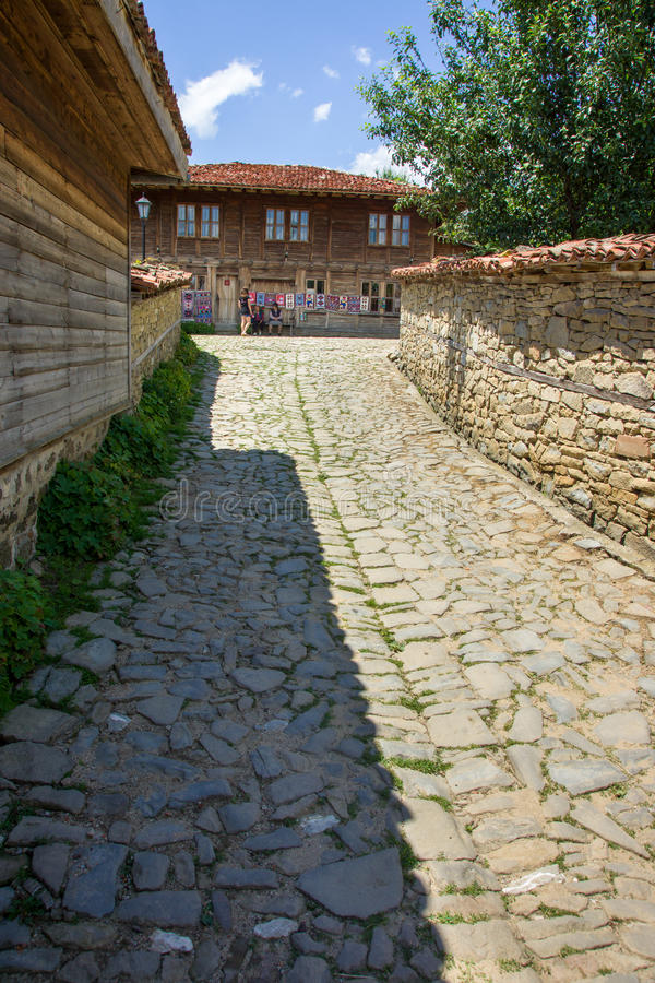 Road to the weaving workshop in the village of Zheravna stock photo
