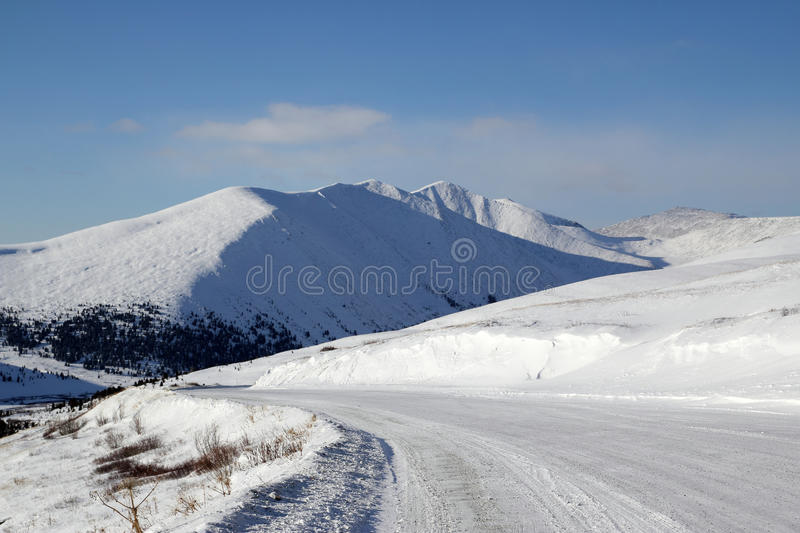Road to the Western Sayan mountains stock images