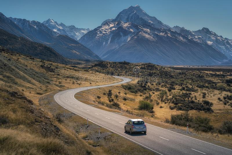 Road toaward Mount Cook royalty free stock images