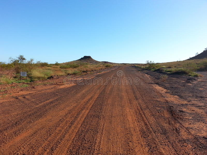 Road track in Australian outback. Gravel road track in the Australian outback royalty free stock images