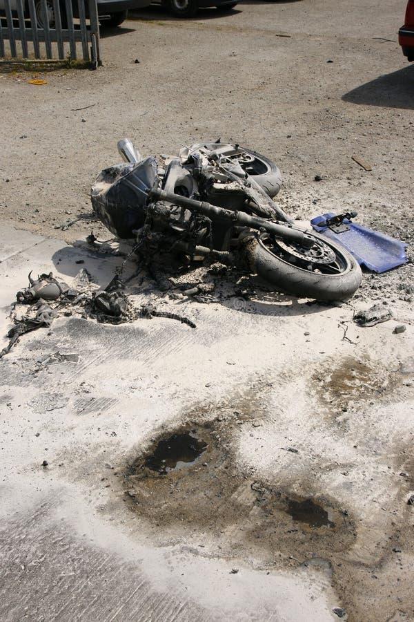 Road traffic accident, motorbike crash royalty free stock images