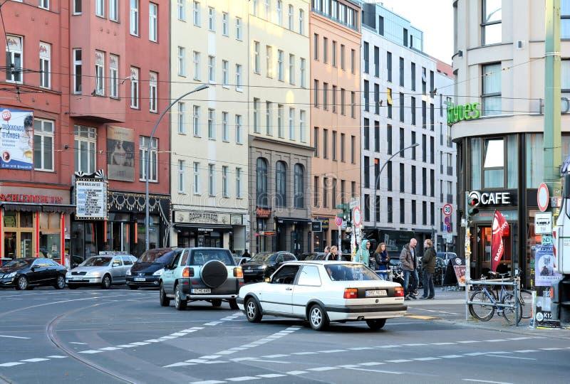 Road traffic in Berlin. Road traffic at Rosenthaler Platz in Berlin royalty free stock photo