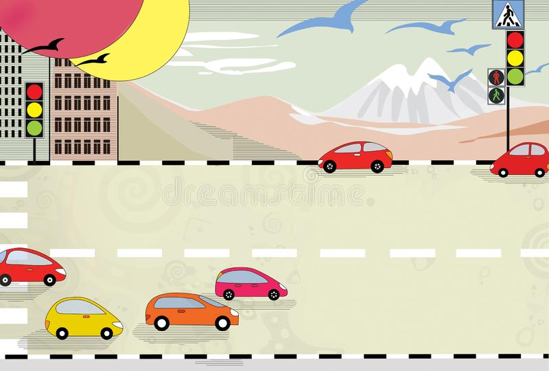 Road traffic in the city at the bottom of the mountain. Cars and traffic lights.  vector illustration