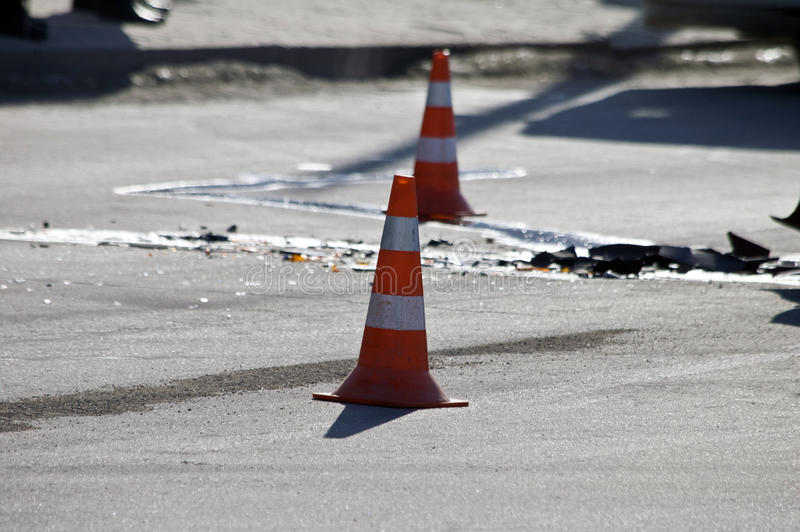 Road traffic cone on accident site stock image