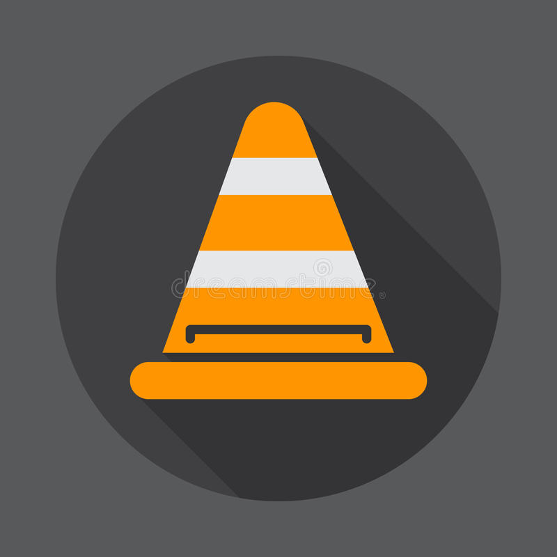 Road traffic cone flat icon. Round colorful button, circular vector sign with long shadow effect. Flat style design. stock illustration