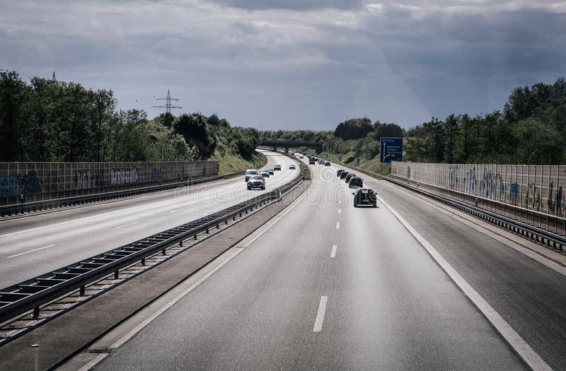 Road traffic on a german autobahn. BERLIN AREA - MAY 18: road traffic on a german autobahn on May 18, 2015 in around Berlin , Germany stock images