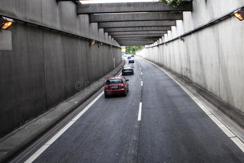 Road traffic on a german autobahn. BERLIN AREA - MAY 18: road traffic on a german autobahn on May 18, 2015 in around Berlin , Germany royalty free stock image