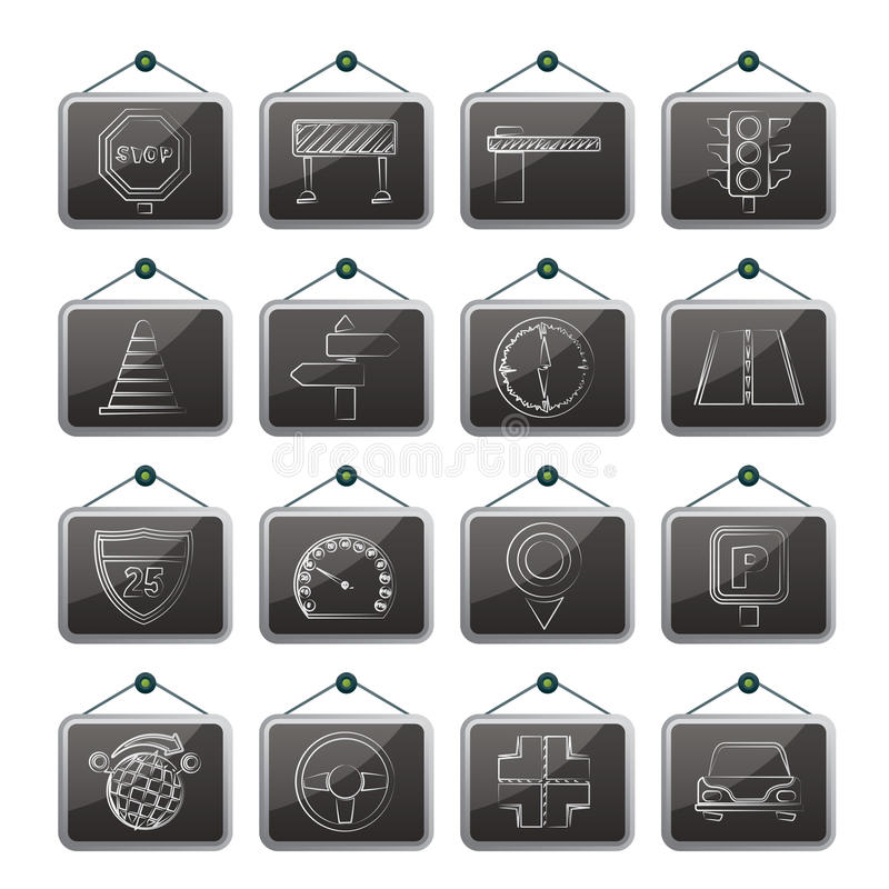 Download Road and Traffic Icons stock vector. Illustration of equipment - 30475007