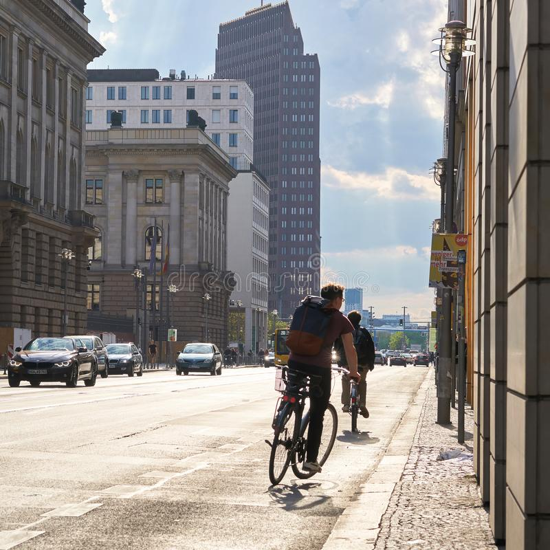 Road traffic on Leipziger Straße in Berlin. During rush hour on a summer day royalty free stock photo