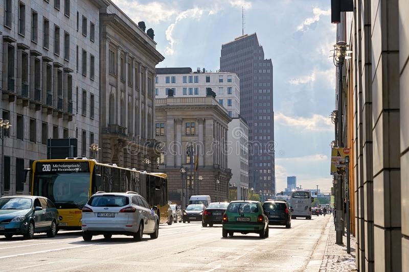 Road traffic on Leipziger Straße in Berlin. During rush hour on a summer day royalty free stock photography