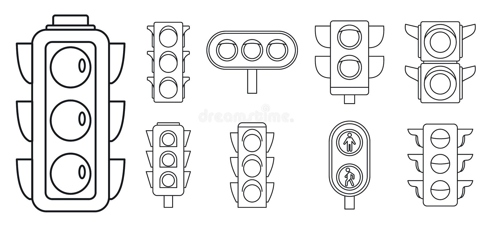 Road traffic lights icon set, outline style vector illustration