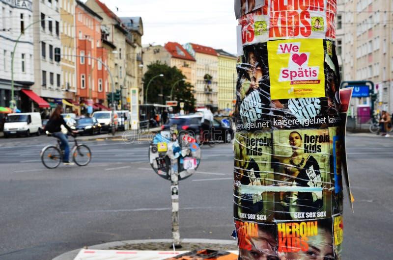Road traffic at Rosenthaler Platz in Berlin. BERLIN, GERMANY - September 22, 2016: road traffic at Rosenthaler Platz in Berlin royalty free stock images