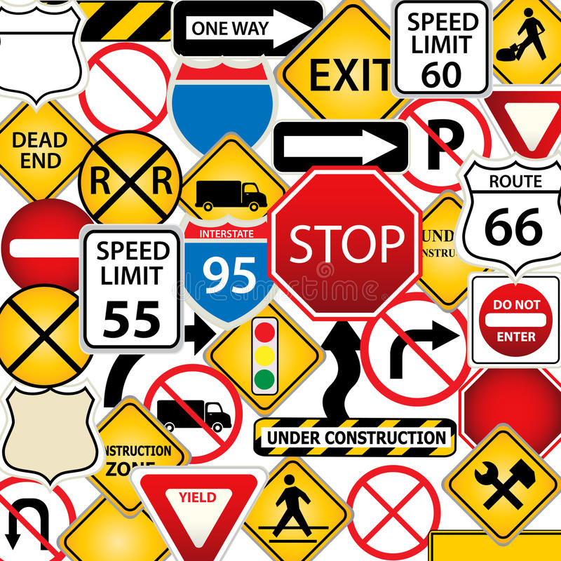 Download Road and traffic signs stock vector. Image of highway - 19889202
