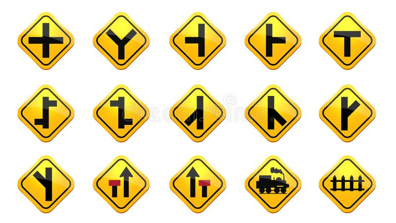 Road and Traffic signs collection royalty free illustration