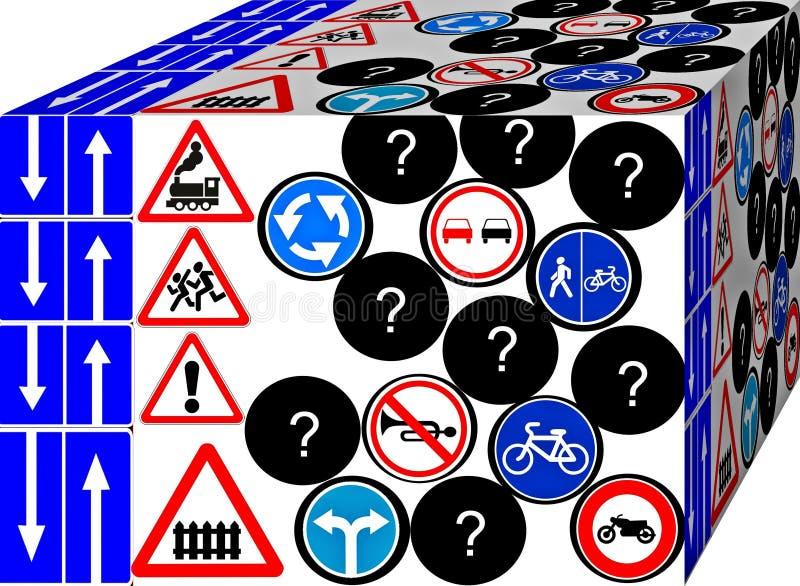 Road and traffic signs. Road and traffic signs in an interesting view. Background. 3D illustration.  Cubism.  Cubism. 3d vector illustration