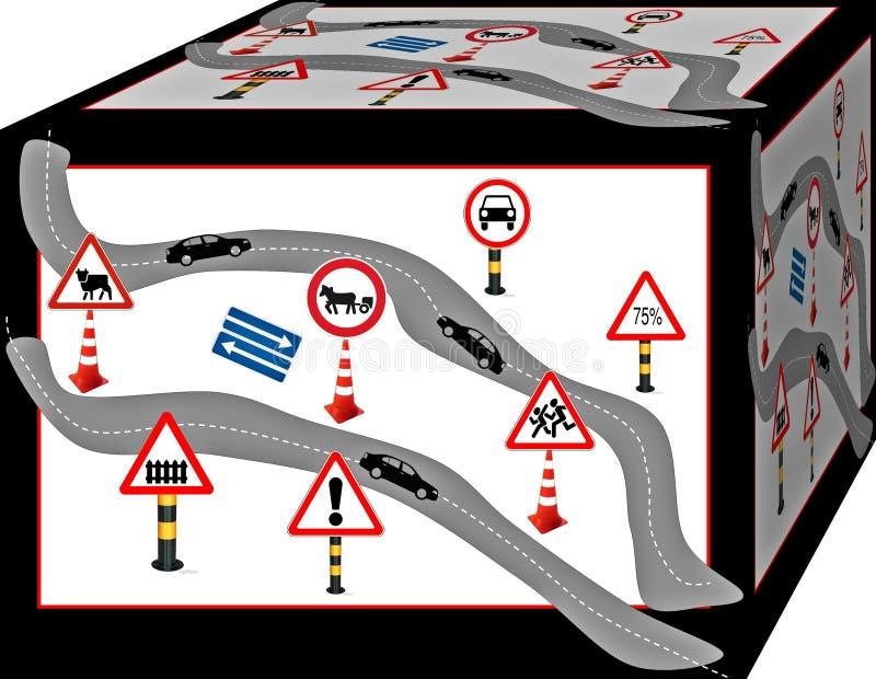 Road and traffic signs. Road and traffic signs in an interesting view. Background. 3D illustration.  Cubism.  Cubism. 3d stock illustration