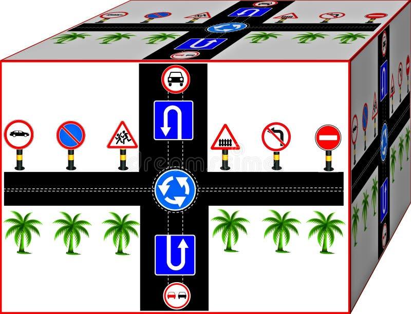 Road and traffic signs. Road and traffic signs in an interesting view. Background. 3D illustration.  Cubism.  Cubism. 3d royalty free illustration