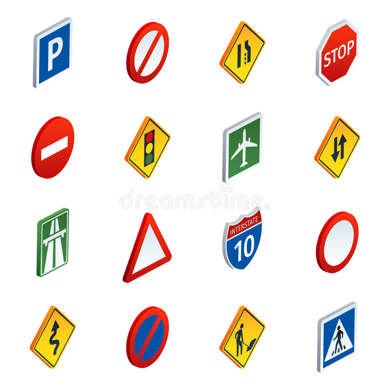 Road Traffic Signs Isometric Icons Set Stock Vector Illustration