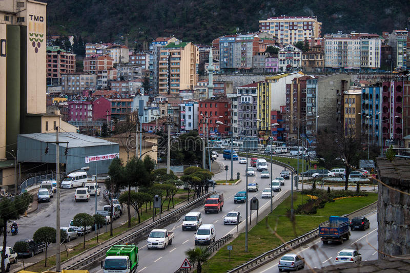 Road traffic in Trabzon royalty free stock photos
