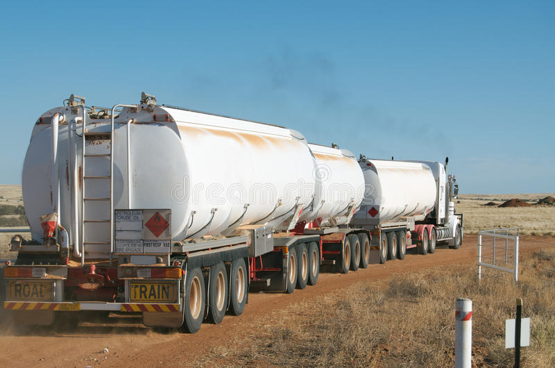 Road train carrying fuel stock images