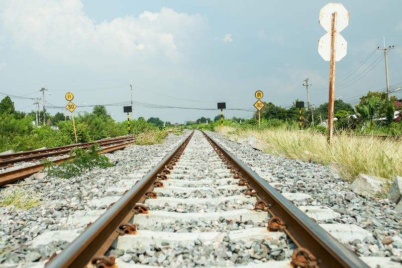 Road train and long way. Road railway in Thailand royalty free stock image